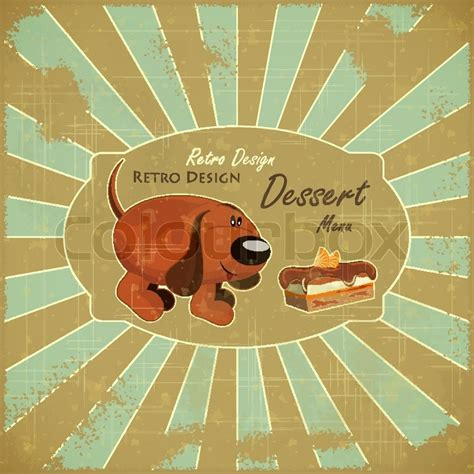 design cover retro retro design cover dessert menu cartoon dog and cake on