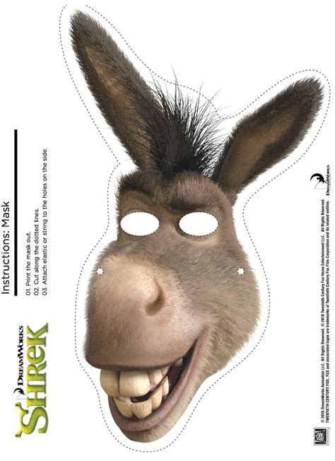 free printable shrek donkey mask mama likes this