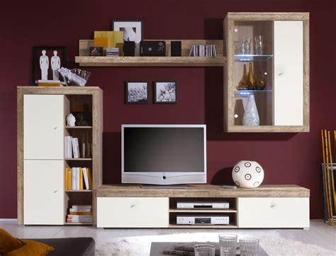 wohnzimmermöbel eiche wohnwand lamount b 284x202x50 cm eiche magnolie schrank