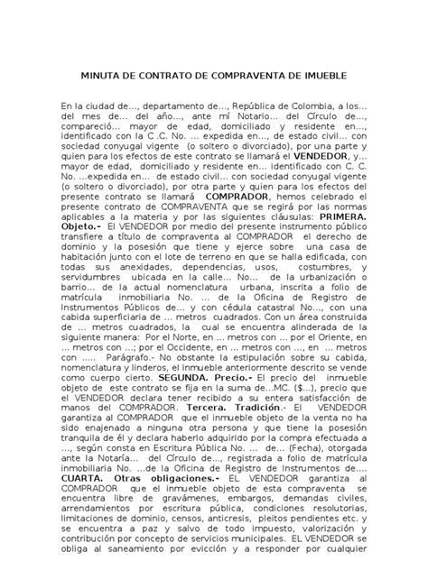 modelo contrato compraventa inmueble vlex chile minuta de contrato de compraventa de imueble