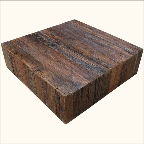 Reclaimed Wood Square Coffee Table Rustic Railroad Ties Reclaimed Wood Square Sofa Cocktail Coffee Table Furniture Ebay