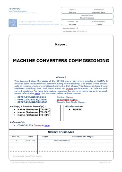 Templates Commissioning Report Template