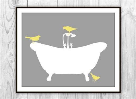 bathroom art etsy birds on bathtub art print gray white yellow modern bathroom de