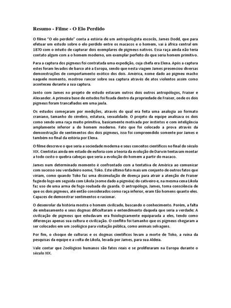 Resumo do Filme - O elo perdido.pdf | Humano | Antropologia