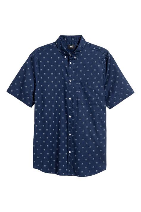 Hm Flower Top Bordir Fit L sleeve shirt regular fit blue dotted h m us