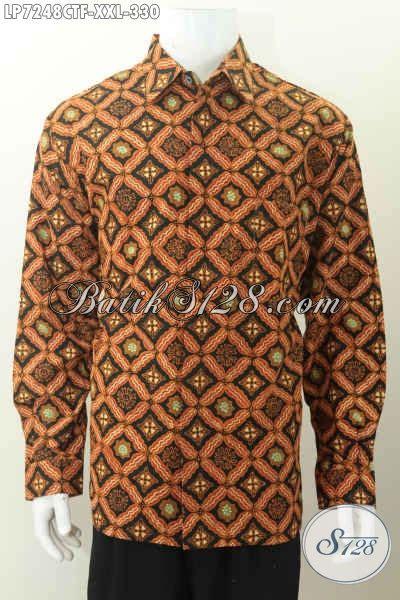 Batik Cap Pekalongan Pria Halus Lengan Panjang hem batik lengan panjang furing baju batik cap tulis halus til gagah dan tan untuk