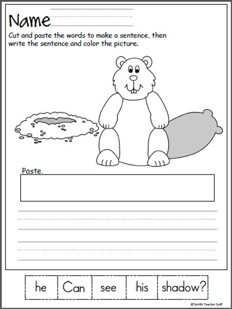 groundhog day kindergarten worksheets groundhog day scrambled sentence worksheet madebyteachers