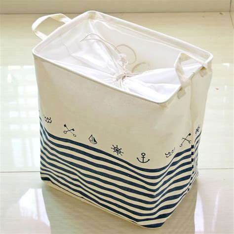cotton linen anchor stripe clothes laundry basket