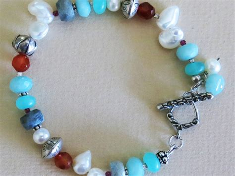 Gemstone Jewelry Handmade - handmade pearl and multi gem bracelet handmade jewelry