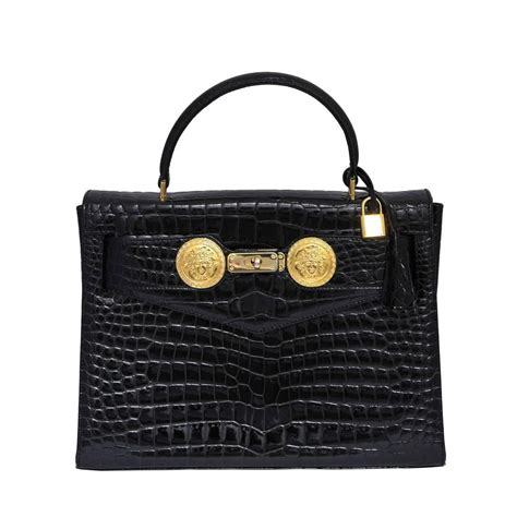 Versace Metallic Croc Sted Hitbag by Gianni Versace Croc Embossed Couture Bag With Medusas For