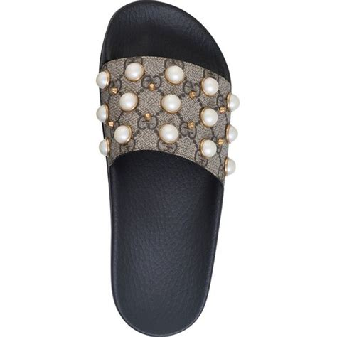 Gucci Shoes With Pearls Yr308 60 gucci pursuit pearl embellished rubber slider sandals