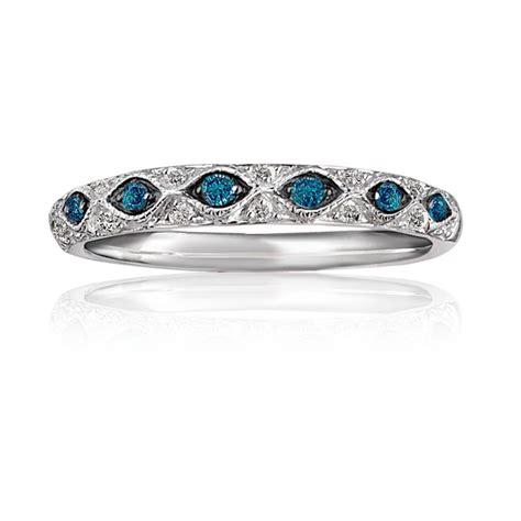 blue white antique diamond anniversary band  wedding