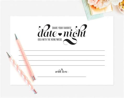 Date Night Idea, Date Night Card, Wedding Keepsake, Idea