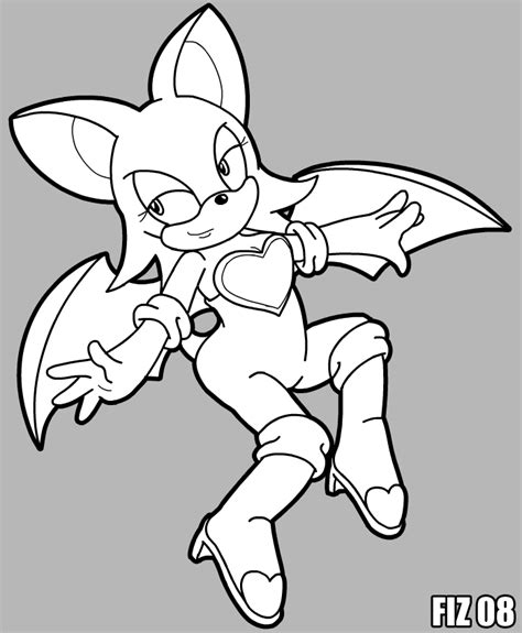 rouge the bat coloring page by fiztheancient on deviantart