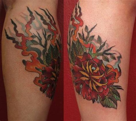 fire rose tattoo devoted ink tattoos traditional japanese neo