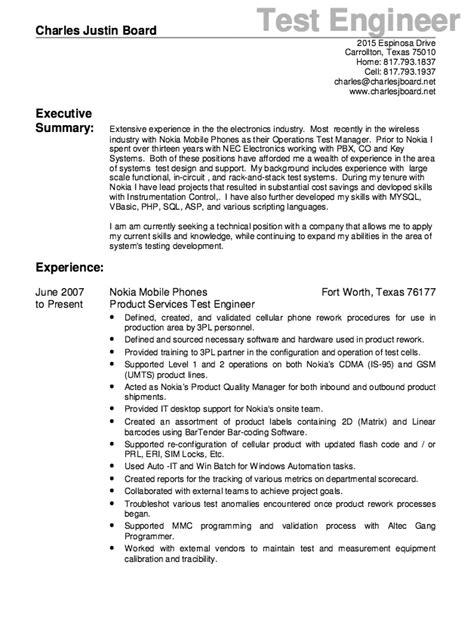 test engineer resume template test engineer resume sle free resume sle