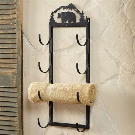 bear decor for bathroom bear wall door mount towel rack rustic country decore