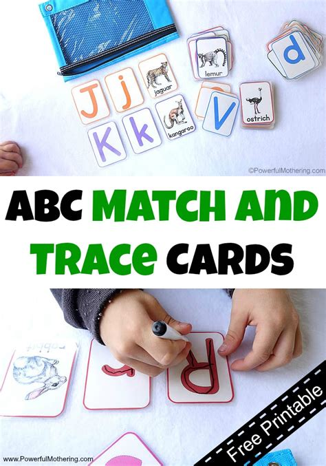 Great Travel Trace Bag 1 abc match and trace cards free printable