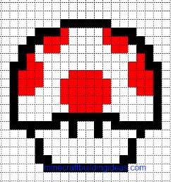minecraft pixel art templates mario health mushroom