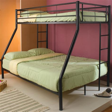 Tubular Bunk Bed Black Finish Metal Modern Bunk Bed W Tubular Legs