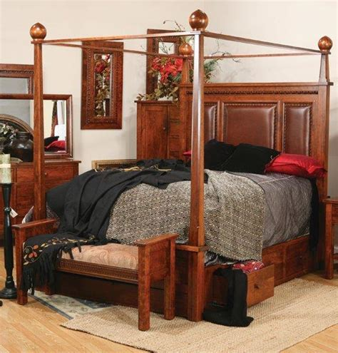 canopy bed with storage amish pittsburg bed with canopy and storage rails