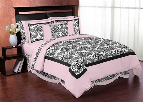 pink and black comforter sets full elegant black white pink damask scroll bedding twin full