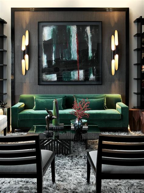bold emerald black living room bold sexy abstract