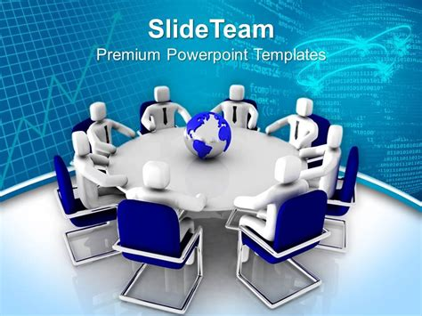3d Men Sitting On Round Table Powerpoint Templates Ppt Backgrounds For Slides 0213 Powerpoint Team Meeting Powerpoint Templates