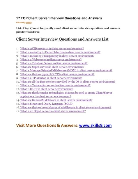 top client server interview questions  answers