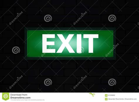 exit sign light box exit sign light box 3d rendering stock illustration