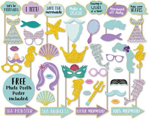 printable mermaid photo booth props mermaid photo booth props photo booth poster party mermaid