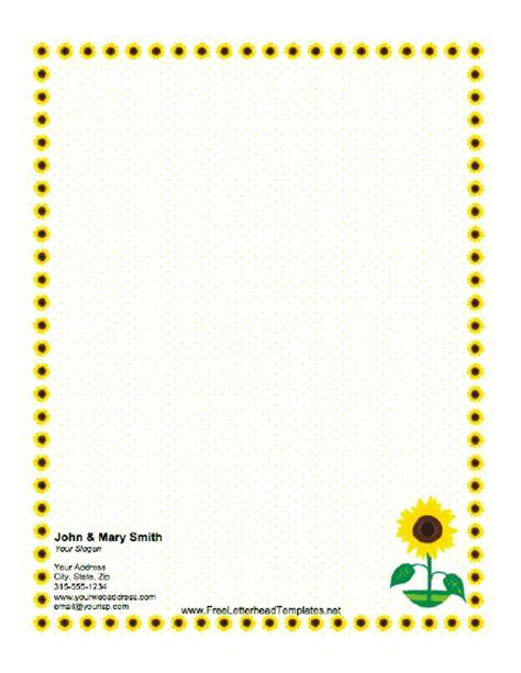 Sunflower Letterhead Sunflower Stationery Template
