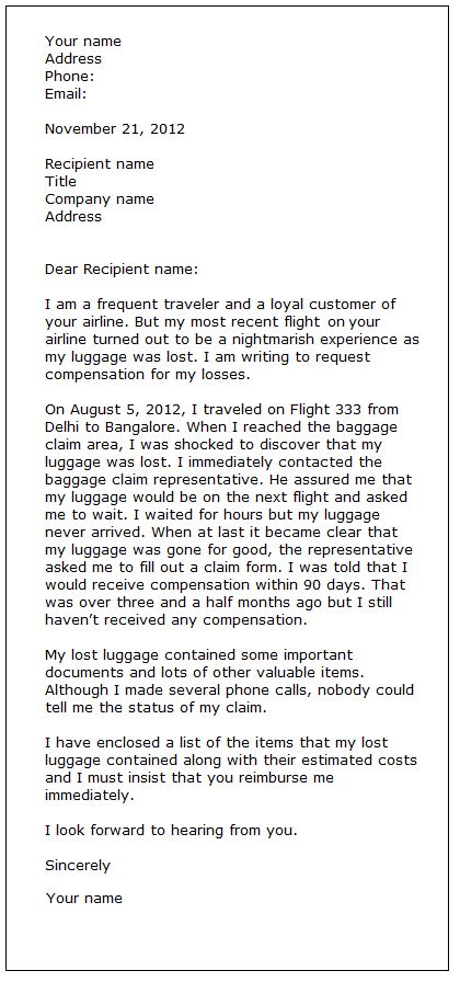Complaint Letter Airline Damaged Luggage Complaint Letter Exle