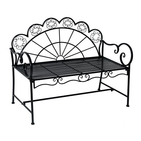 black metal garden bench outsunny 44 quot metal garden bench two people heavy duty