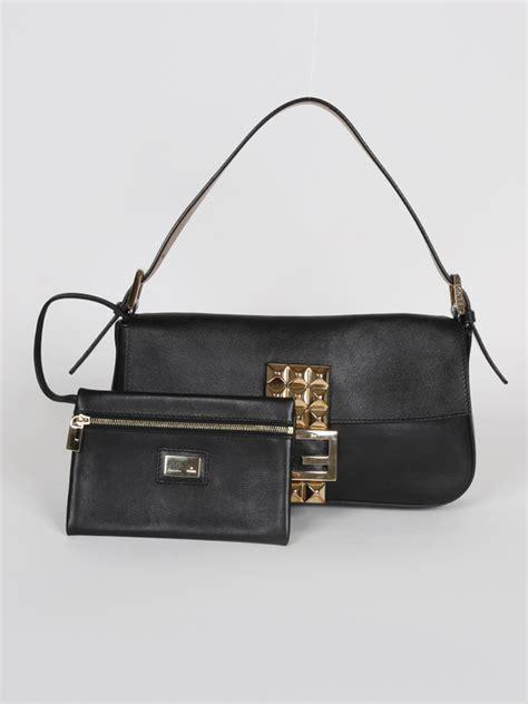 Fendi Baguette Leather 7808h fendi baguette black leather gold stud luxury bags