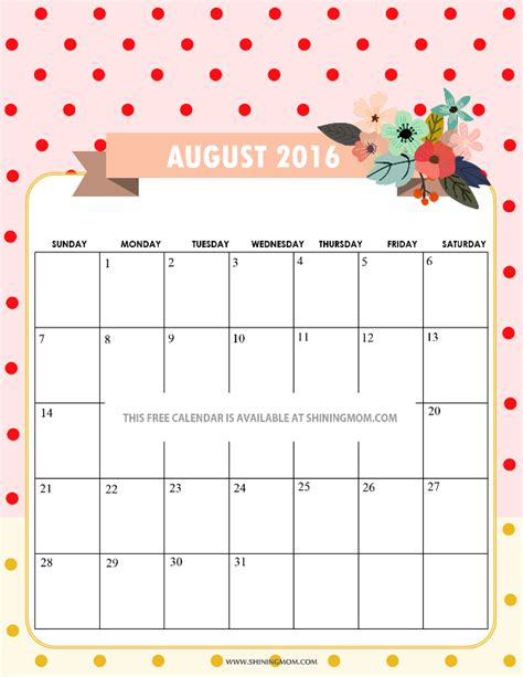 free printable cute planner 2016 pretty printable calendars for august 2016