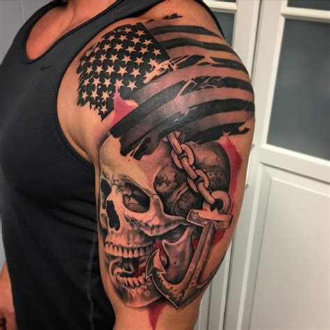 trash polka style flag skull and anchor tattoo by david
