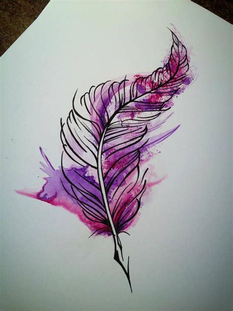 tattoo pen watercolor tattoo feather watercolour aquarel purple pink