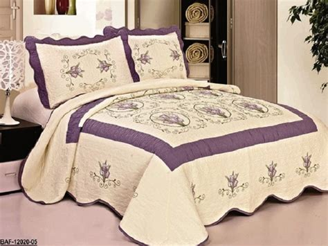 purple coverlet queen high quality beige purple fully quilted bedspread