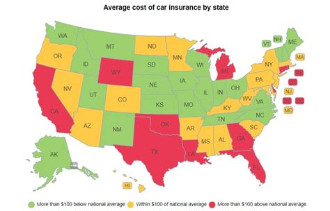 cheapest states in usa the most and least expensive states for car insurance