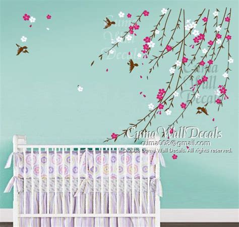 baby flower wall decal nursery wall decal and birds