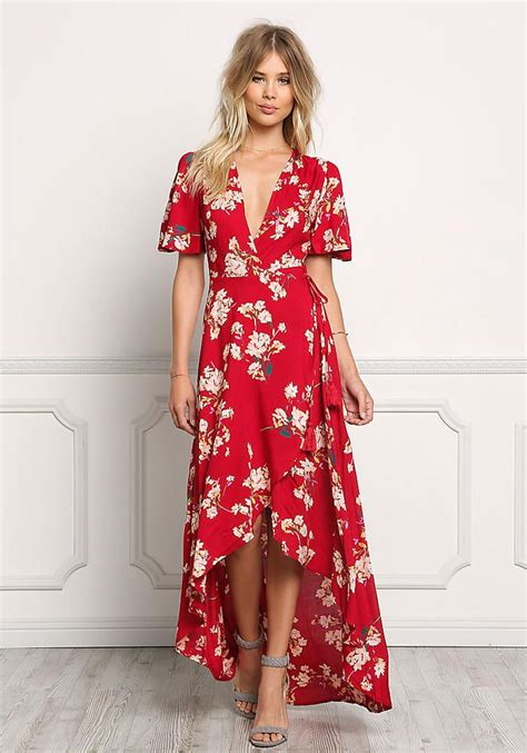looks stylish traditions to addict maxi skirts in winter 2014 2015 red floral wrap hi lo maxi dress dresses dresses maxi
