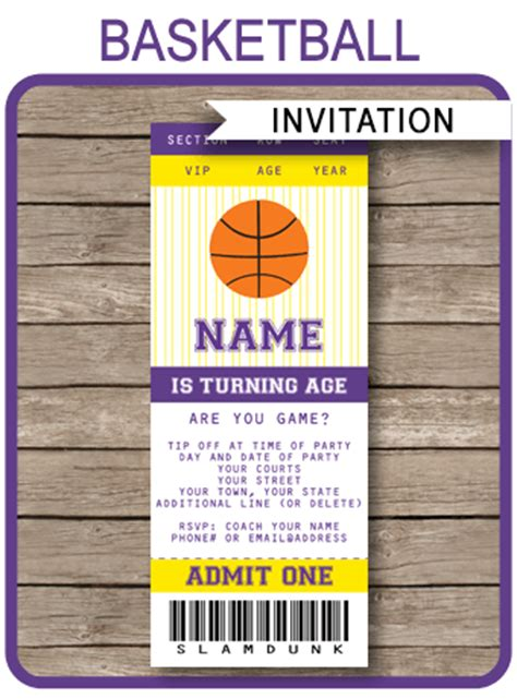 purple citation template yellow and purple basketball ticket invitation template