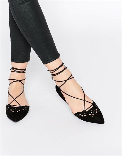 flat shoes lace up lyst aldo harmony black leather laser cut ghillie lace