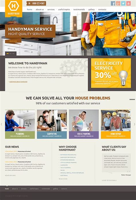 Comparison Of 10 Handy Man Services Website Templates Tonytemplates Cheap Web Page Templates
