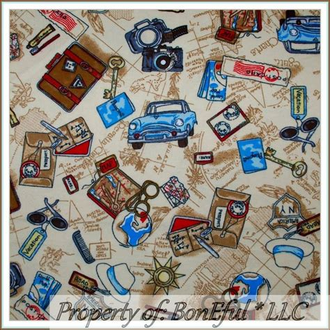 Route 66 Quilt Pattern by Boneful Fabric Fq Cotton Quilt Flannel Vtg World Travel