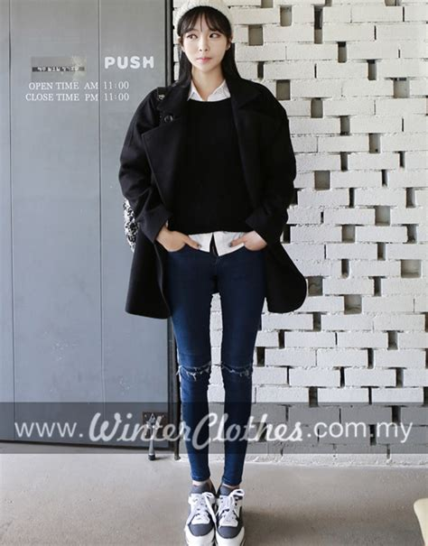 Korean Style korean style simple casual oversize winter coat winter
