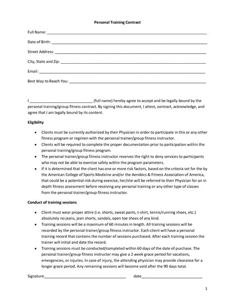 Personal Training Contract Template Free Printable Documents Personal Agreement Contract Template