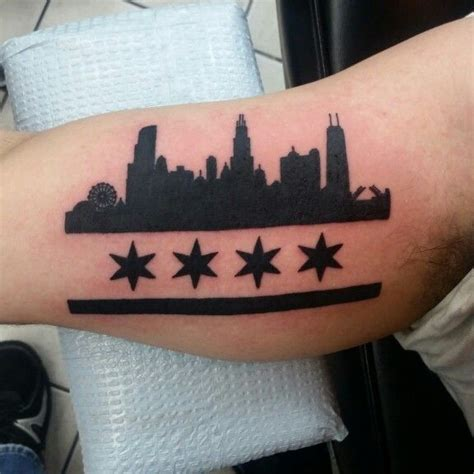 chicago skyline tattoo black and grey tattoos