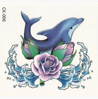 dolphin rose tattoo 1pcs blue purple 3d dolphin wave tattoos big large